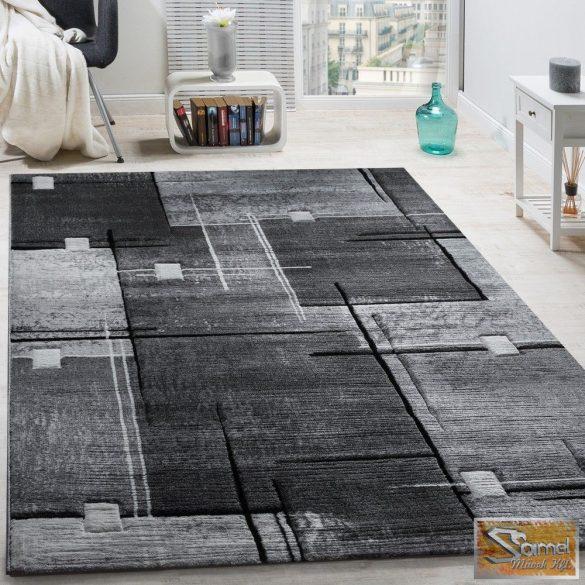 Szőnyeg absztrakt vonalakkal, szürke-fekete