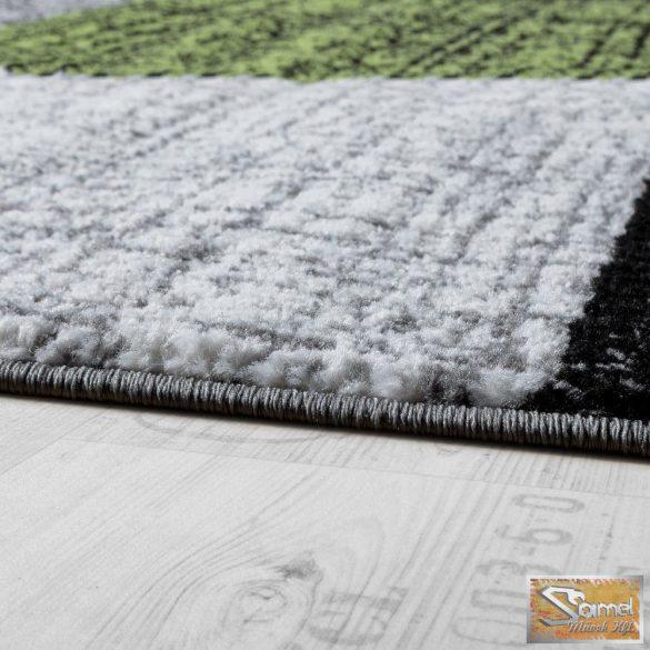 Designer szőnyeg négyzetekkel, szürke-fekete-zöld