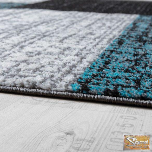 Designer szőnyeg rövid bolyhos, négyzetes, szürke-fekete-türkiz