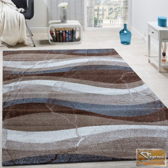 Designer szőnyeg hullámos, barna-szürke-bézs