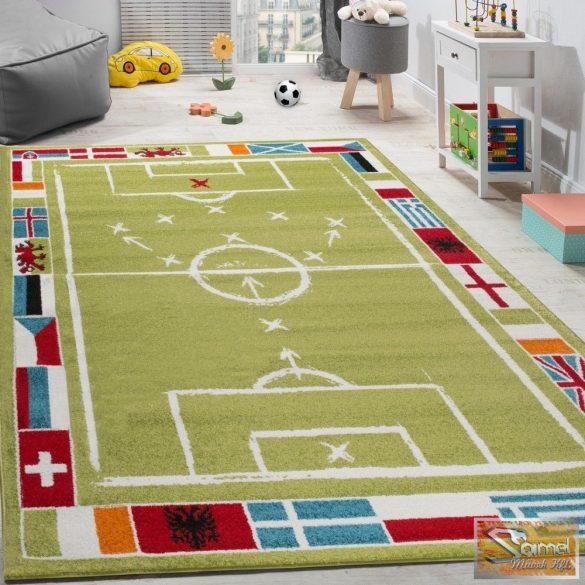 Gyerekszőnyeg focipálya, zászlókkal
