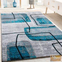 Retro mintás szőnyeg, fekete-szürke-türkiz