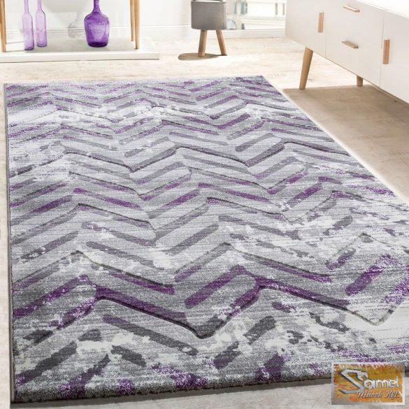 Skandináv cikk-cakk mintás szőnyeg, lila-szürke