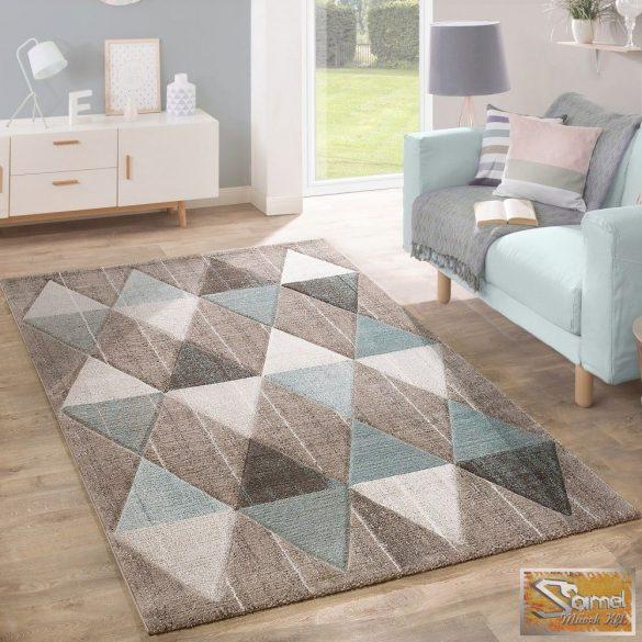 Designer szőnyeg háromszöges mintával, bézs-barna