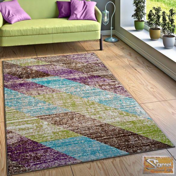Csíkos szőnyeg, türkiz-barna-lila-zöld