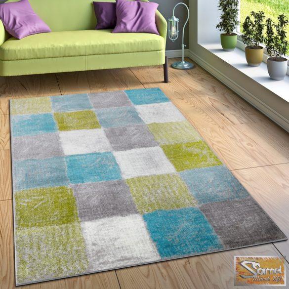 Designer szőnyeg négyzetes türkiz-zöld-szürke