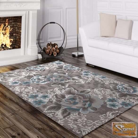 Designer szőnyeg nagy rózsamintával, szürke-türkiz