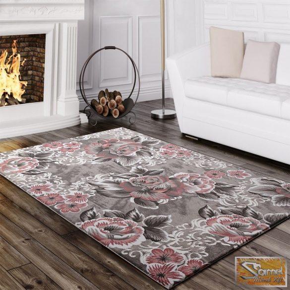 Designer szőnyeg rózsamintával, szürke