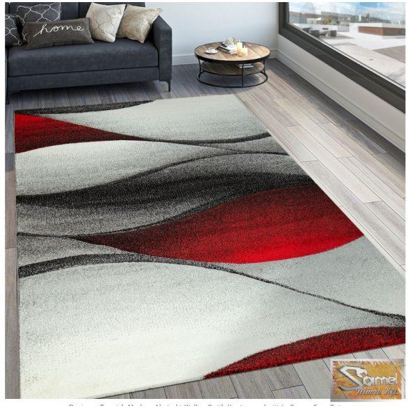 Designer szőnyeg hullámokkal, piros-szürke