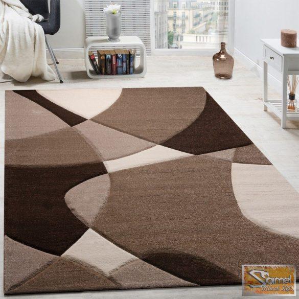 Geometriai mintás szőnyeg, barna-krém-bézs