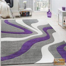 Designer szőnyeg, kontúrokkal, hullám lila-szürke-fehér