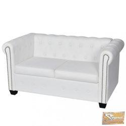 VID 2 személyes fehér műbőr chesterfield kanapé