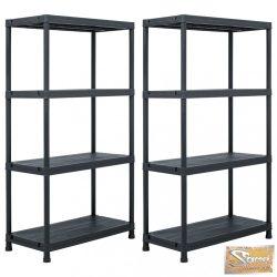 VID 2 db fekete műanyag tároló polc állvány 60 x 30 x 138 cm