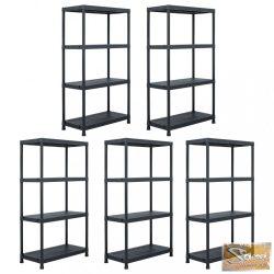 VID 5 db fekete műanyag tároló polc állvány 60 x 30 x 138 cm