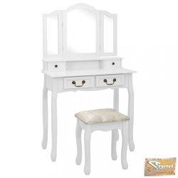 VID fehér császárfa fésülködőasztal-szett ülőkével 80 x 69 x 141 cm