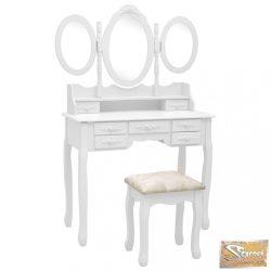 VID fehér fésülködőasztal ülőkével és háromrészes tükörrel