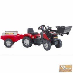 Vid traktor markolóval, utánfutóval