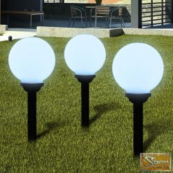 Napelemes Gömb kültéri lámpa LED égő 20 cm 3 db Cövekkel