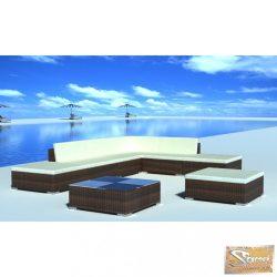 VID 8-részes barna polyrattan kerti bútorszett párnákkal