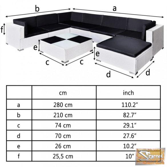 Vid 24 részes polyrattan kerti bútor, fehér