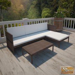 VID 3-részes barna polyrattan kerti bútorszett párnákkal