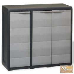VID fekete és szürke kerti tárolószekrény 2 polccal