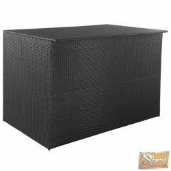 VID fekete polyrattan kültéri tárolóláda 150 x 100 x 100 cm