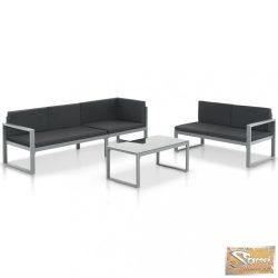 VID 3 részes fekete alumínium kerti ülőgarnitúra párnákkal