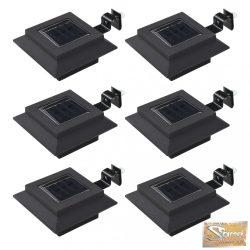 VID 6 db négyszögletes fekete kültéri napelemes led lámpa, 12 cm
