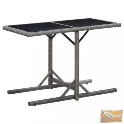 VID antracitszürke polyrattan és üveglapos kerti asztal 110x53x72cm