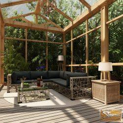 VID 10-részes szürke polyrattan kerti bútorszett párnákkal