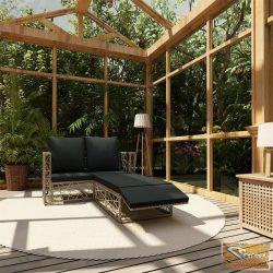 VID 2-részes szürke polyrattan kerti bútorszett párnákkal