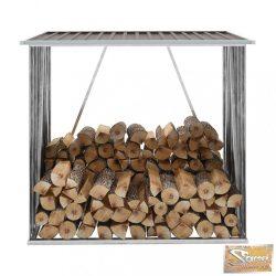 VID barna horganyzott acél kerti tűzifatároló 163 x 83 x 154 cm