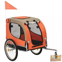 VID narancssárga és szürke kutyaszállító kerékpár-utánfutó